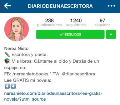 Instagram de Diario de una ecsritora