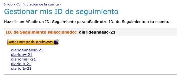 Gestionar ID de seguimiento Amazon
