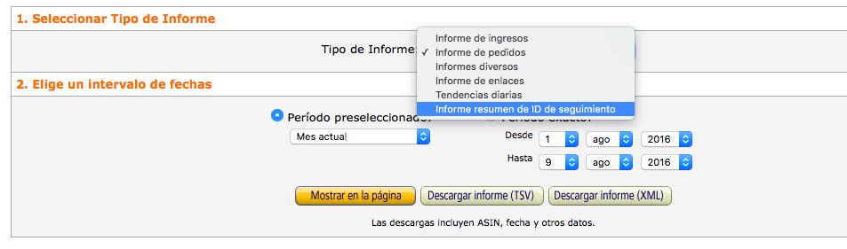 Informe ID seguimiento Amazon