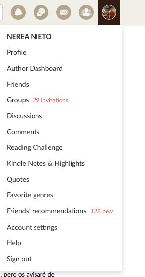 Menú de perfil en Goodreads