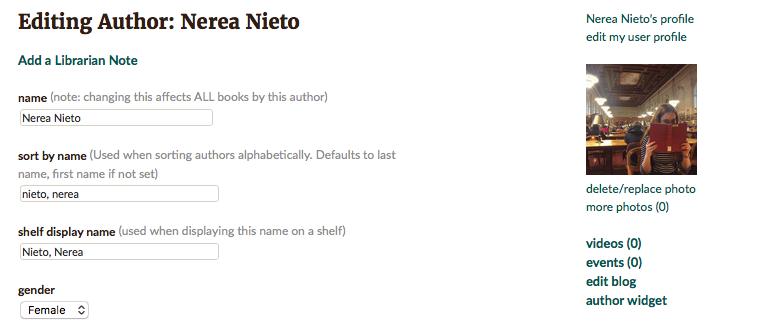 Editar perfil de auto en Goodreads