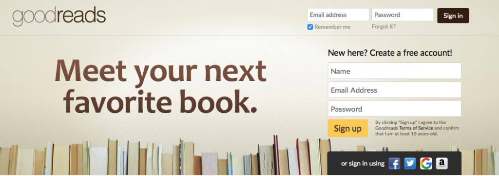 Registrarse en Goodreads